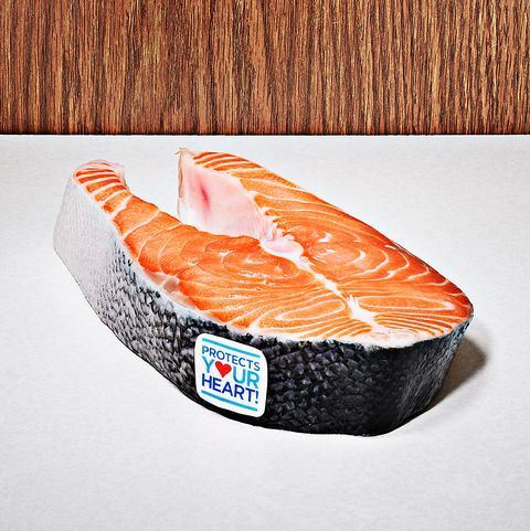 piece of salmon on table