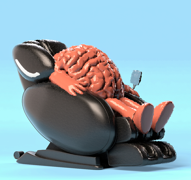 anthromorphized brain sitting in massage chair