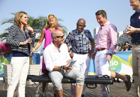 "today    pictured l r anchors natalie morales, hoda kotb, matt lauer, al roker and billy bush with us team doctor kevin pierce appear on nbc's ""today"" show at the rio olympics on monday, august 9, 2016    photo by joe scarnicinbc"