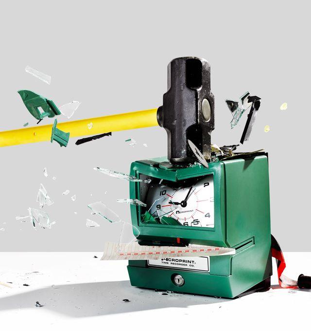 sledgehammer hitting time punch clock