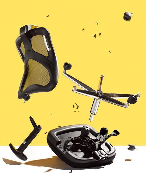 office chair broken into pieces