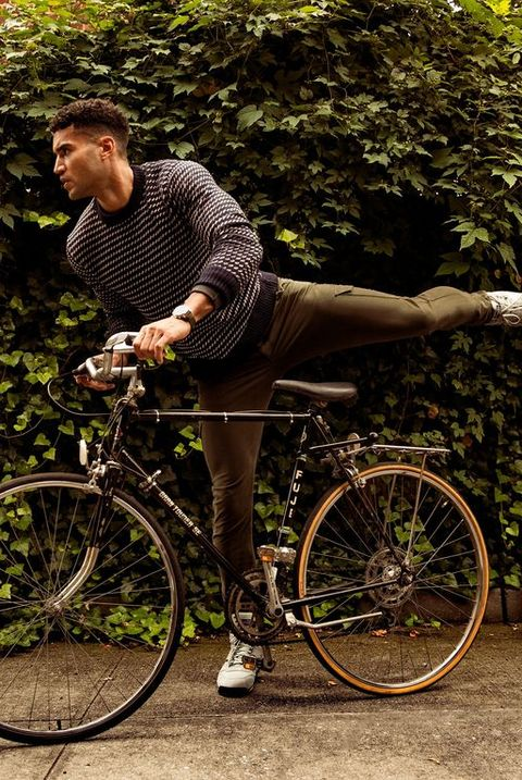 bicycle, sweater, plants, leaves, boots