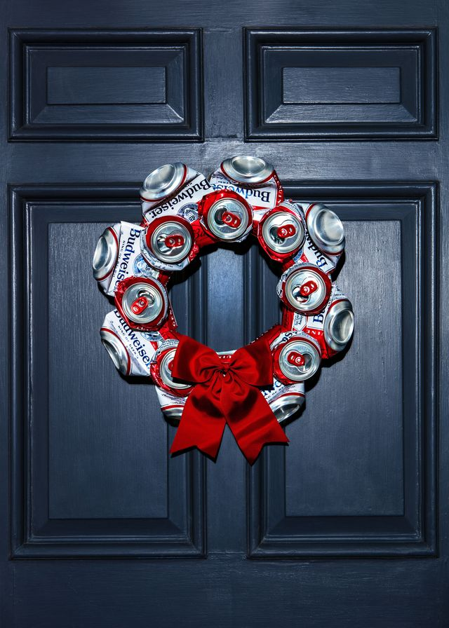 wreath made of budwiser beer cans