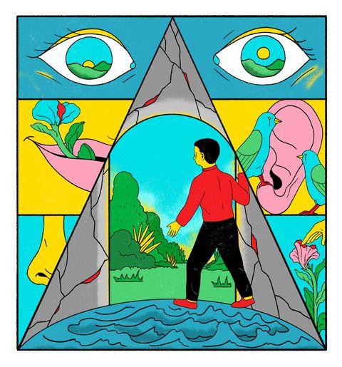 illustration of person walking through a fantasy door into a landscape