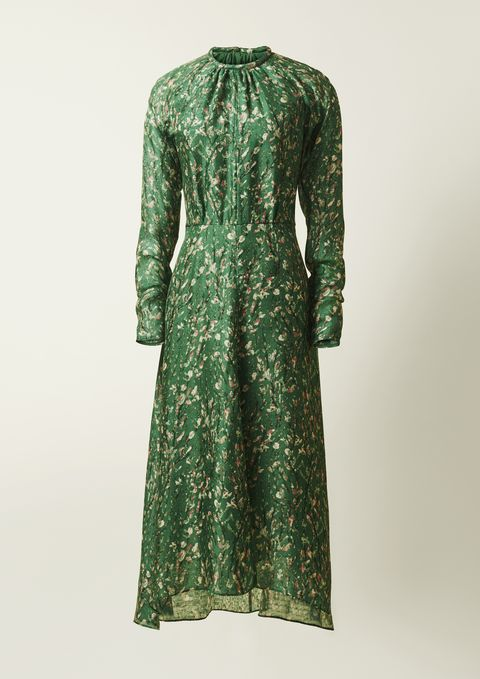 Clothing, Dress, Green, Day dress, Sleeve, Outerwear, Robe, Pattern, Neck, Cocktail dress,