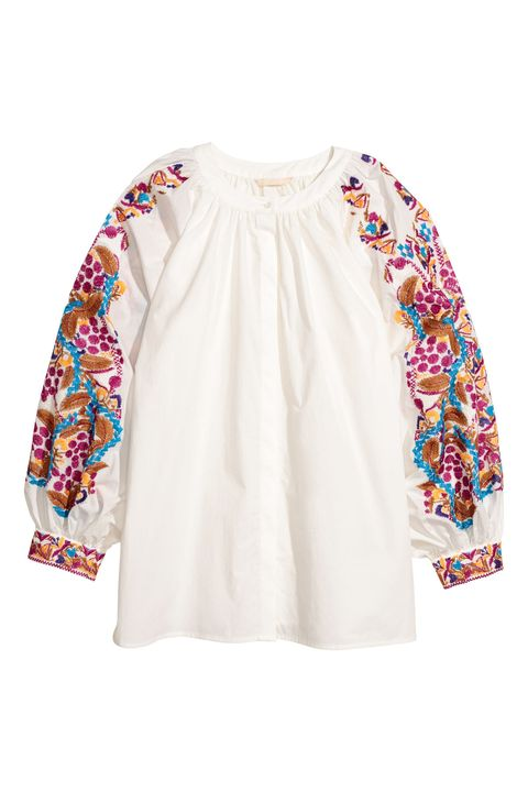 Clothing, White, Sleeve, Outerwear, Blouse, Embroidery, Top, Beige, Neck, Shirt,