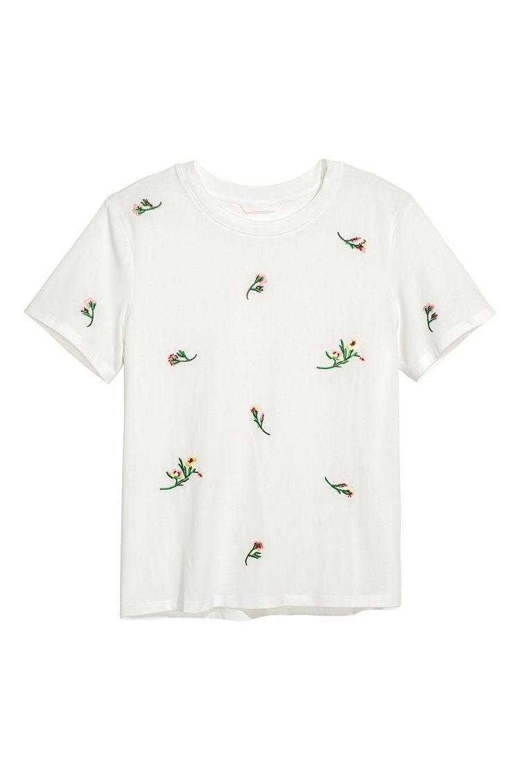 h&m floral white t-shirt