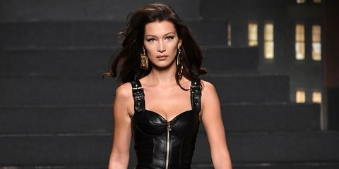 Bella Hadid on the H&M x Moschino catwalk