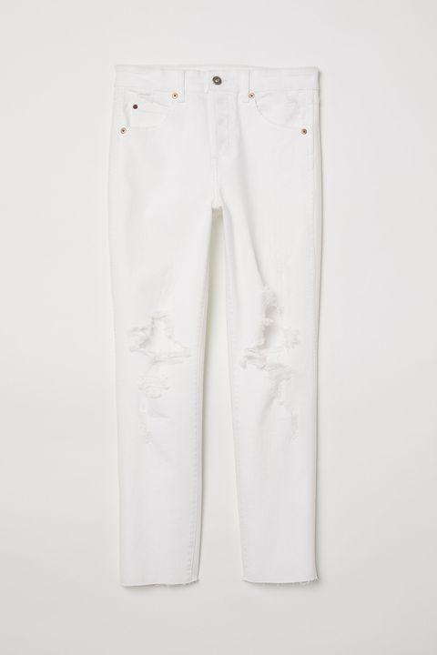 White, Clothing, Denim, Jeans, Trousers, Pocket, Active pants, Textile,