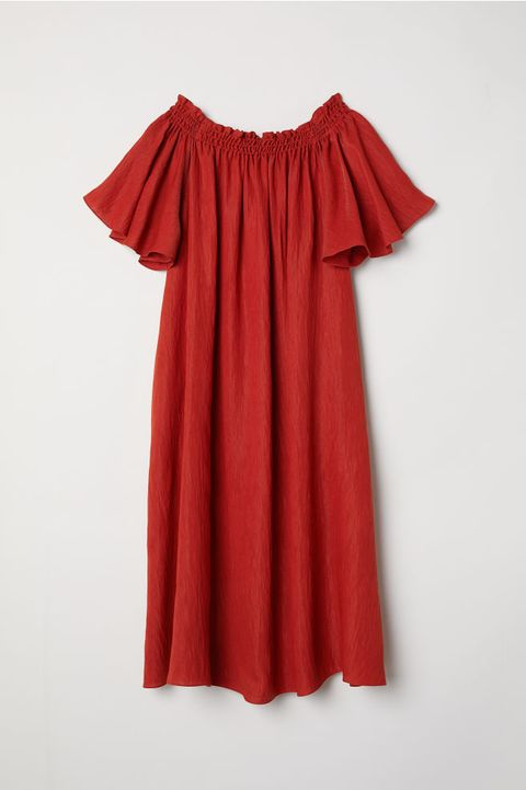 Clothing, Red, Day dress, Shoulder, Dress, Maroon, Sleeve, Joint, Textile, Ruffle,