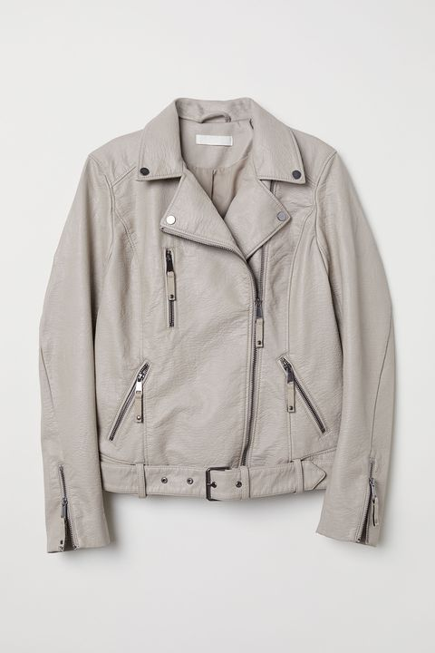 Clothing, Jacket, Outerwear, White, Sleeve, Beige, Leather, Leather jacket, Textile, Top,