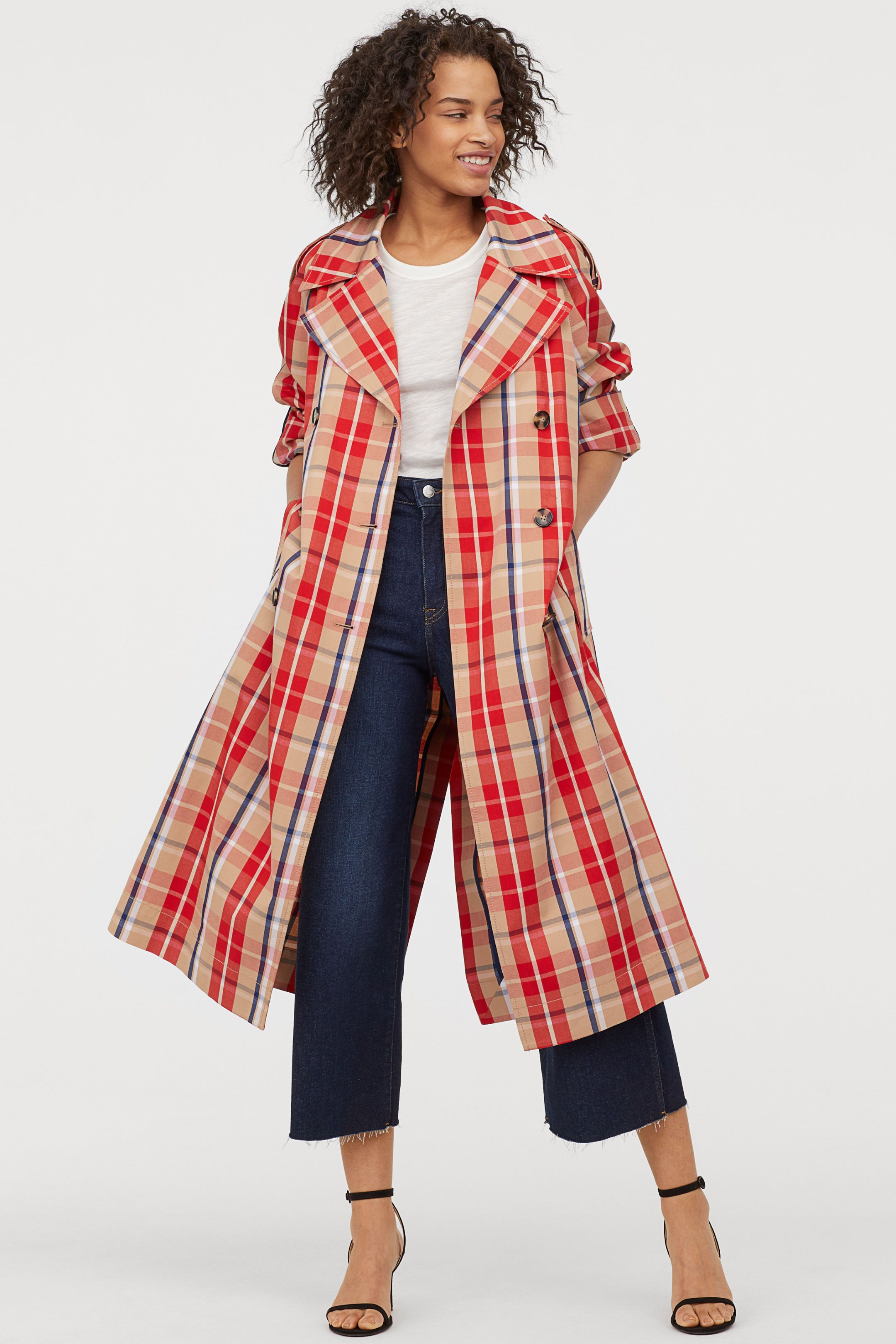 H&M checked trench coat
