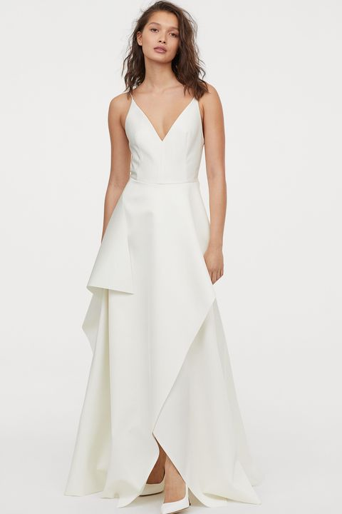 beach wedding dresses - H&M satin wedding dress