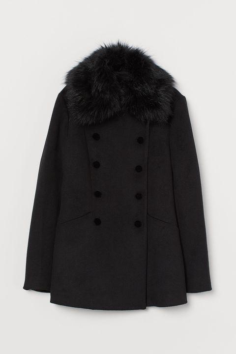 Clothing, Outerwear, Coat, Fur, Black, Collar, Overcoat, Sleeve, Fur clothing, Jacket,