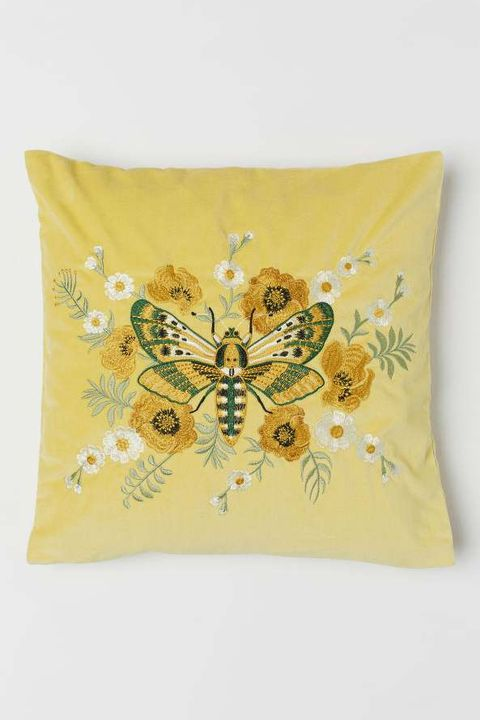 Yellow, Pillow, Cushion, Throw pillow, Textile, Butterfly, Furniture, Linens, Rectangle, Home accessories,