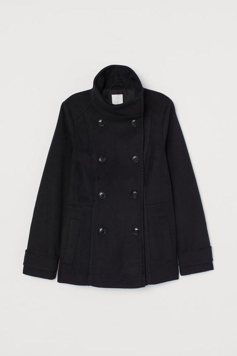 Clothing, Black, Outerwear, Sleeve, Jacket, Coat, Overcoat, Button, Collar,