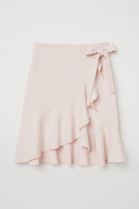 White, Pink, Clothing, Dress, Ruffle, Textile, Waist, Fashion accessory, A-line, Peach,