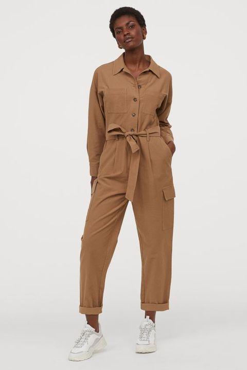 still life shot of beigecamel hm boilersuit with pockets