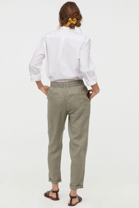 H&M pure linen jogger elasticated waist tapered leg