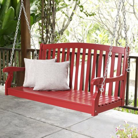 Swing, Furniture, Outdoor play equipment, Outdoor furniture, Porch, Room, Chair, Tree, Outdoor structure, Plant,