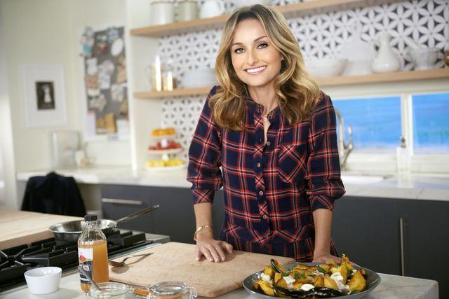 host giada de laurentiis with her dish roasted acorn squash agrodolce, as seen on food network's giada's holiday handbook, season 2