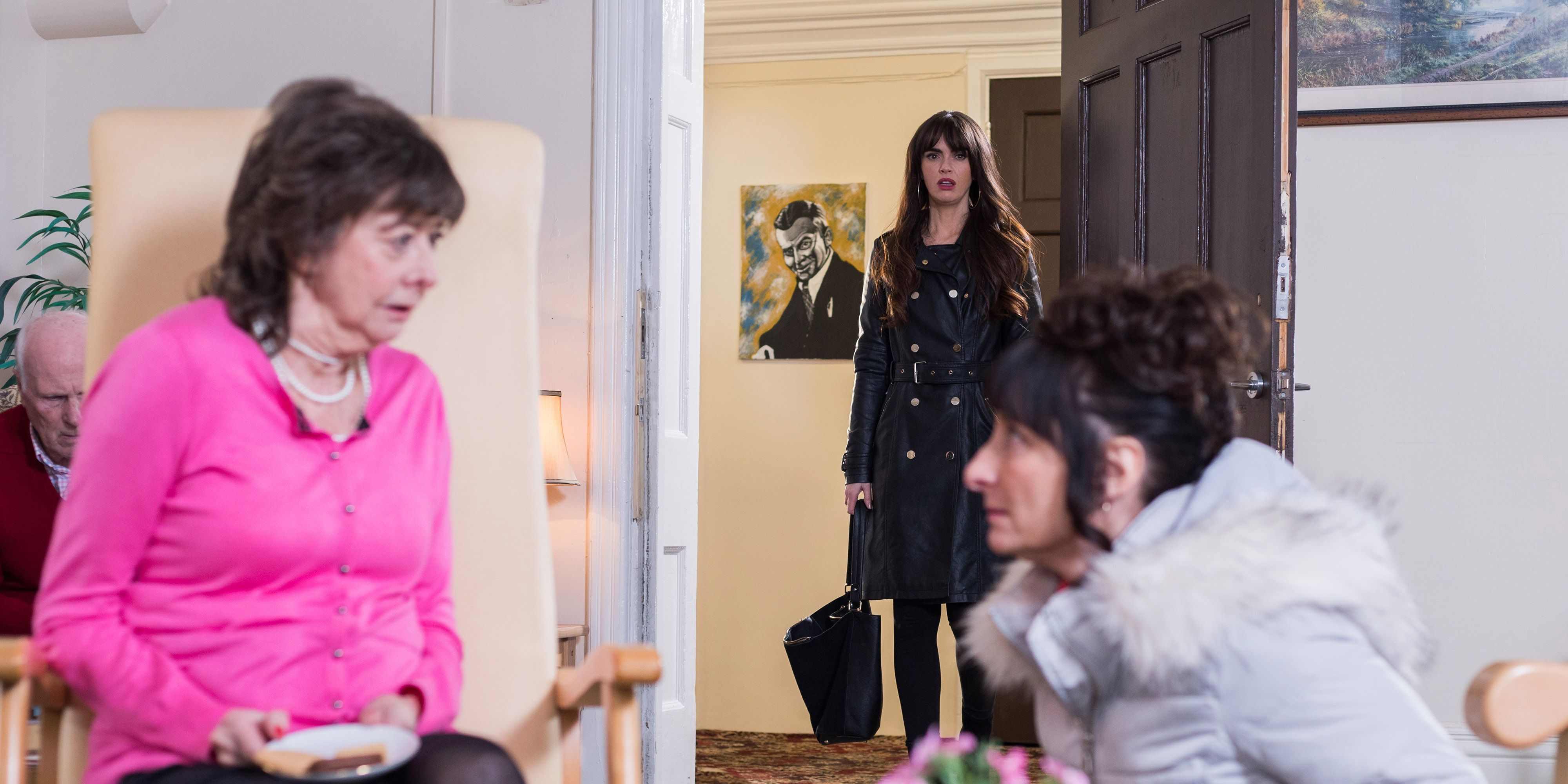 Hollyoaks: Breda McQueen meets Harriet (embargoed 2/22/19)