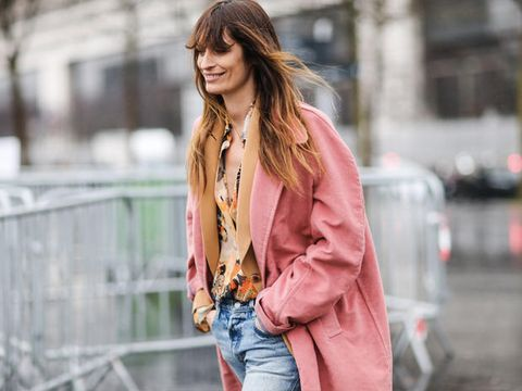 Clothing, Street fashion, Jeans, Pink, Fashion, Beauty, Outerwear, Lip, Blazer, Jacket,