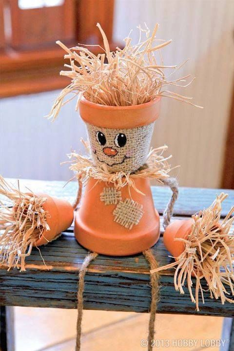 fall crafts scarecrow pot