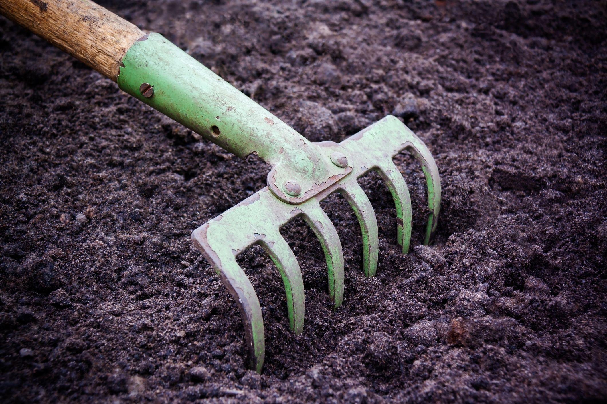 Hoe Digging Soil