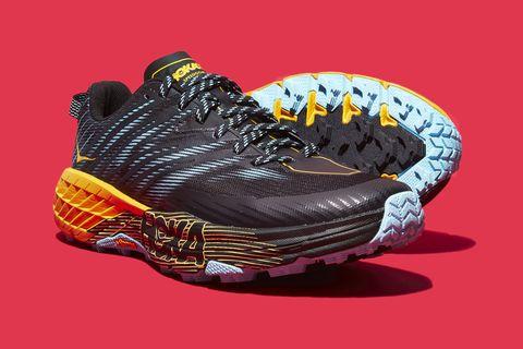Footwear, Shoe, Orange, Running shoe, Yellow, Outdoor shoe, Athletic shoe, Sneakers, Hiking boot, Walking shoe,