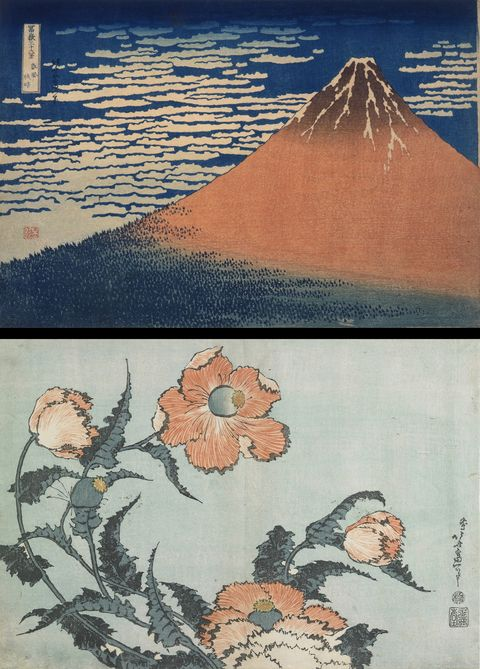 〈上〉「冨嶽三十六景 凱風快晴」 〈下〉「芥子」