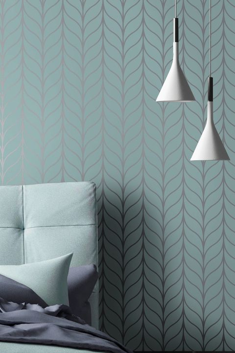 Holden Shimmering Geo Striped Wallpaper Art Deco Trellis Metallic