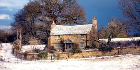 Winter, House, Property, Sky, Snow, Rural area, Home, Tree, Cottage, Farm,