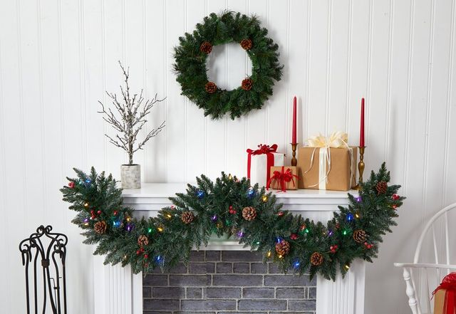 wreath above mantle with garland