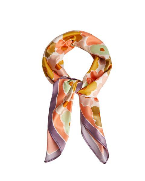 still life shot multicoloured floral print satin scarf by mango   £1299
