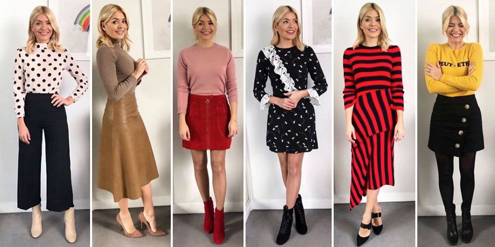 From cute tea dresses, mini skirts and all that knitwear, Holly  Willoughby's wardrobe is legit one of the best around