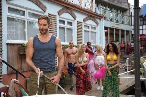 Brody Hudson fills the hot tub in Hollyoaks