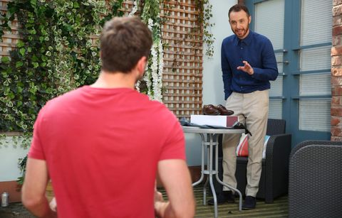 Damon Kinsella and Maxine Minniver want a favour from James Nightingale in Hollyoaks