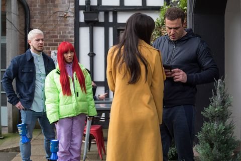 Joel Dexter, Goldie McQueen, Mercedes McQueen and Warren Fox in Hollyoaks