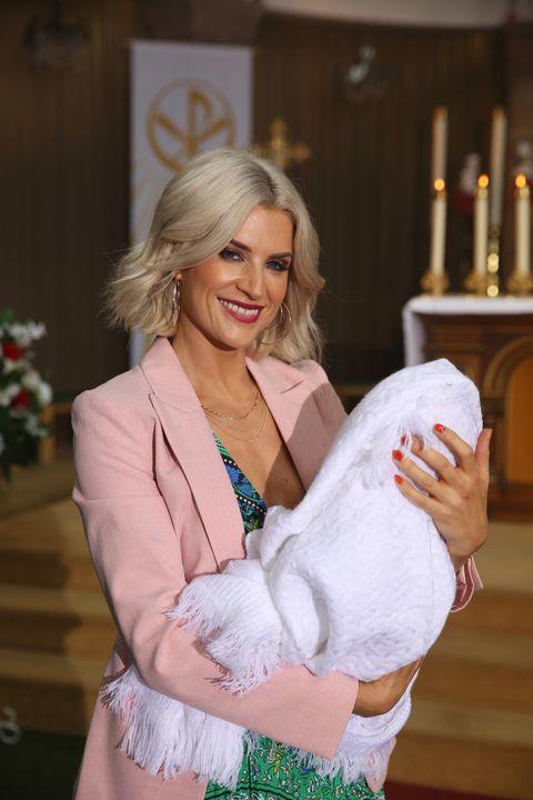 Mandy Richardson at DJ's christening in Hollyoaks