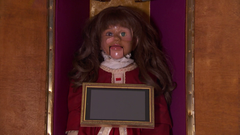 the mcqueen family are sent a creepy doll in hollyoaks