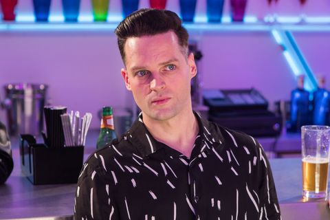Warren Fox clashes with Liam Donovan in Hollyoaks