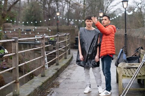 Ollie Morgan and Imran Maalik work on an environmental project in Hollyoaks