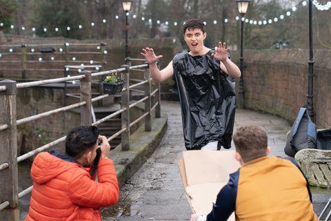 Ollie Morgan, Imran Maalik and Tom Cunningham work on an environmental project in Hollyoaks