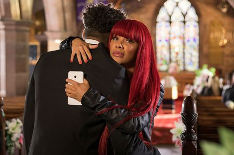 Goldie and Prince McQueen at Lily's funeral in Hollyoaks