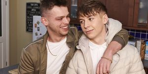 Connor Calland and Billy Price as Jordan Price and Sid Sumner in Hollyoaks