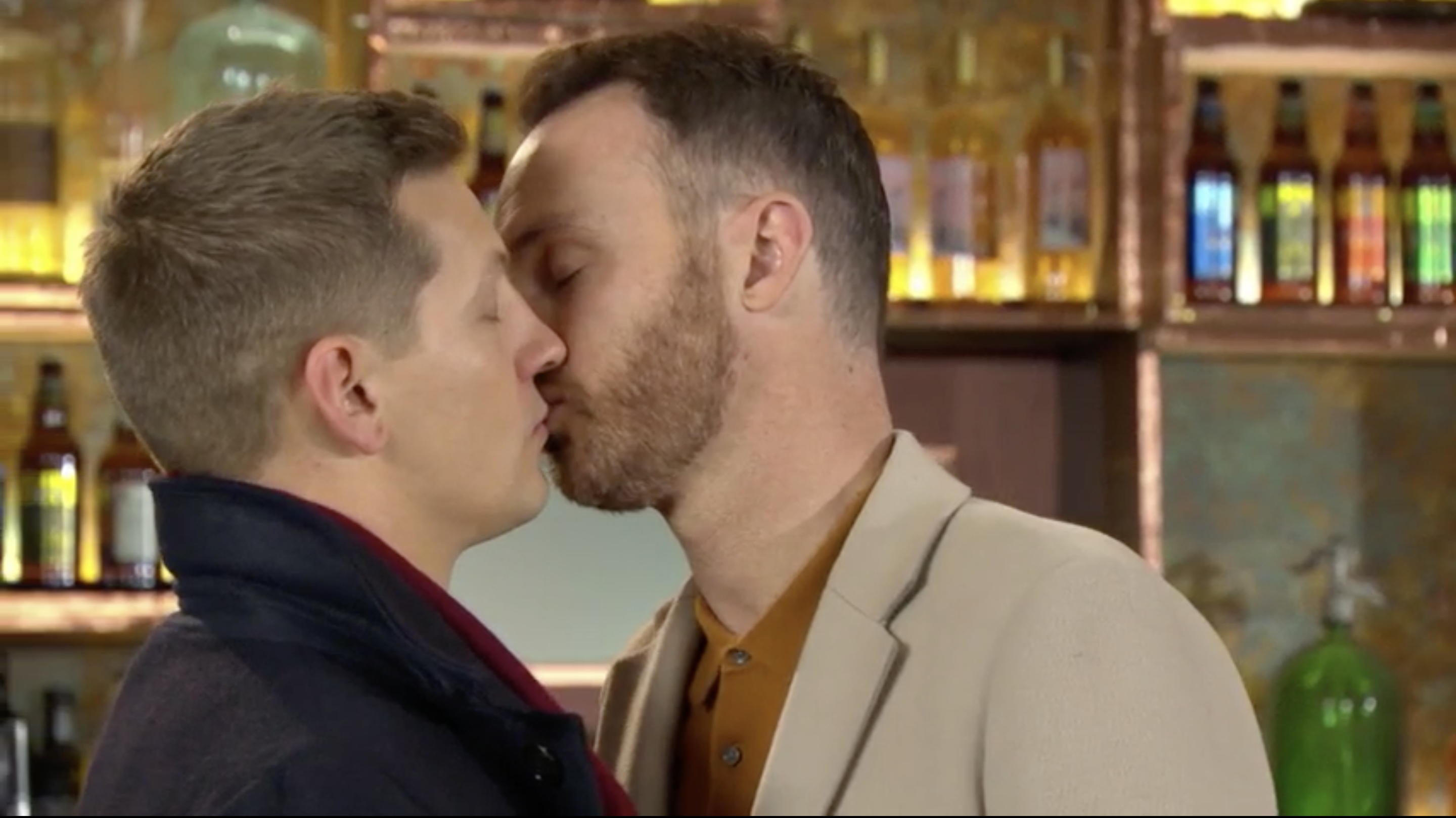Hollyoaks' John Paul McQueen and James Nightingale have surprise kiss