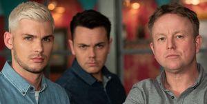 Ste Hay, Jonny Baxter and Stuart Sumner in Hollyoaks