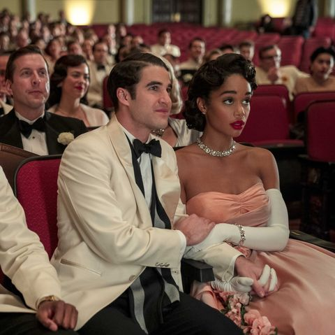 jeremy pope, darren criss, and laura harrier in netflix's hollywood