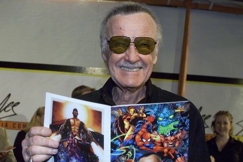 Hollywood Ca: Comic Book Creator Stan Lee Poses With A Spider Man Comic Book During Event H